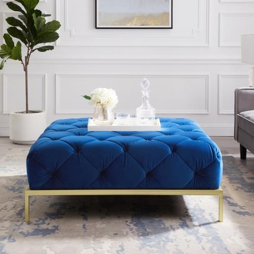 Repose-pied décoratif fini velours de couleur  bleu